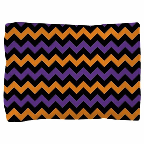 Purple Black And Orange Chevron Patt Pillow Sham By