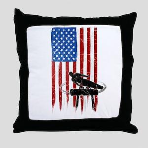 USA Flag Team Pommel Horse Throw Pillow