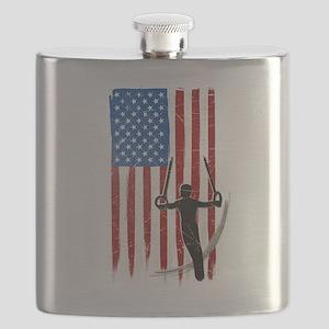 USA Flag Team Gymnastics Rings Flask