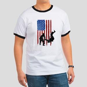 USA Flag Team Judo Ringer T-Shirt