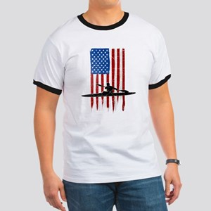 USA Flag Team Kayak Ringer T-Shirt