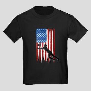 USA Flag Team Volleyball Kids Dark T-Shirt