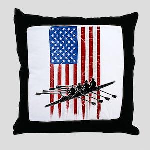 USA Flag Team Rowing Throw Pillow