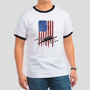 USA Flag Team Rowing Ringer T-Shirt