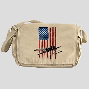 USA Flag Team Rowing Canvas Messenger Bag
