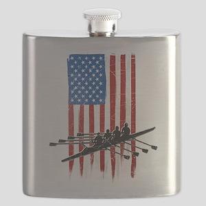 USA Flag Team Rowing Flask
