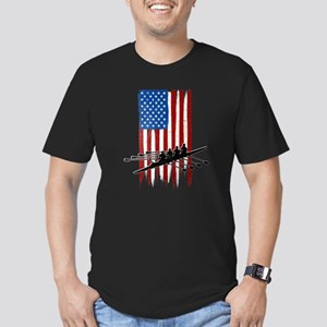 USA Flag Team Rowing Men's Dark Fitted T-Shirt