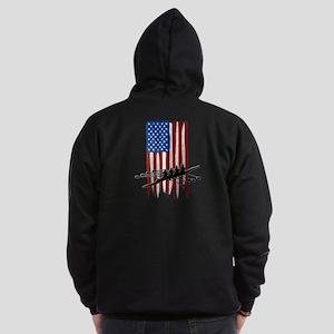 USA Flag Team Rowing Dark Zip Hoodie