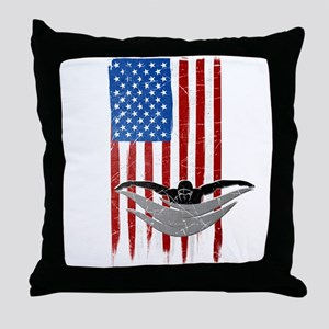 USA Flag Team Swimming Throw Pillow