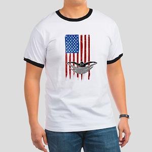 USA Flag Team Swimming Ringer T-Shirt
