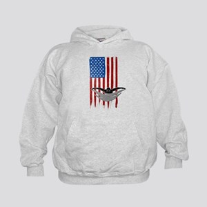USA Flag Team Swimming Kid's Hoodie