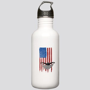 USA Flag Team Swimming Stainless Water Bottle 1.0L