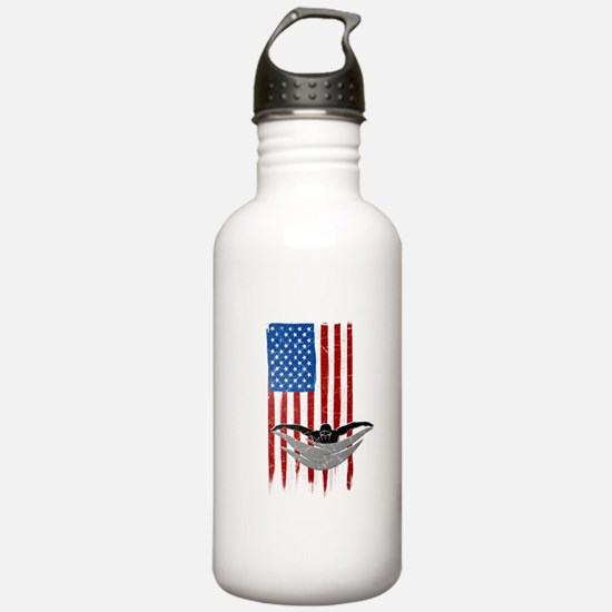 USA Flag Team Swimming Water Bottle