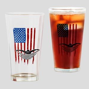 USA Flag Team Swimming Drinking Glass