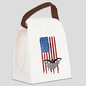 USA Flag Team Swimming Canvas Lunch Bag