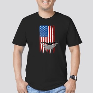 USA Flag Team Swimming Men's Dark Fitted T-Shirt