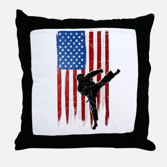 USA Flag Team Taekwondo Throw Pillow