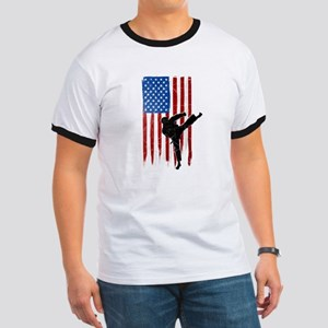 USA Flag Team Taekwondo Ringer T-Shirt