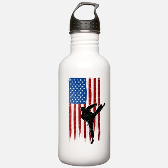 USA Flag Team Taekwondo Water Bottle