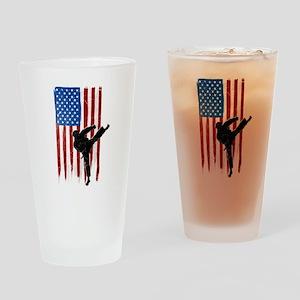 USA Flag Team Taekwondo Drinking Glass