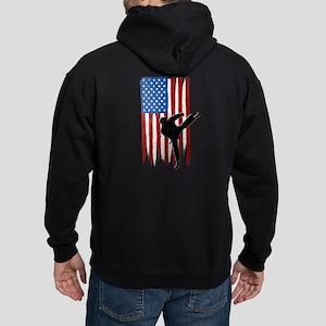 USA Flag Team Taekwondo Dark Hoodie