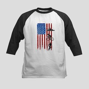 USA Flag Team Triathlon Kids Baseball Jersey
