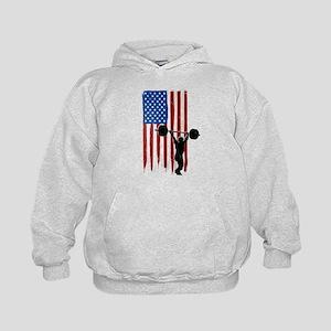 USA Flag Team Weightlifting Kid's Hoodie