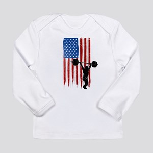 USA Flag Team Weightlifting Long Sleeve Infant T-S