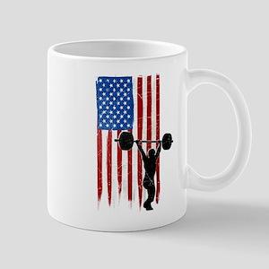 USA Flag Team Weightlifting Mug