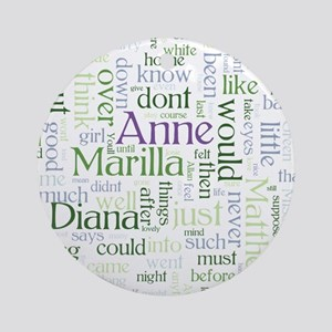 Anne of Green Gables Word Cloud Round Ornament