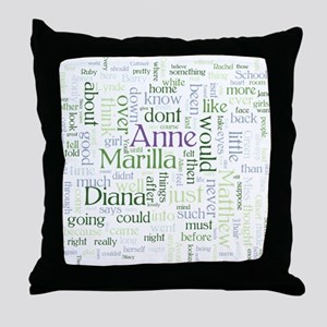 Anne of Green Gables Word Cloud Throw Pillow