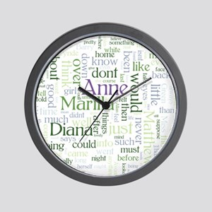 Anne of Green Gables Word Cloud Wall Clock