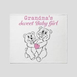Bears Grandmas Sweet Baby Girl Throw Blanket