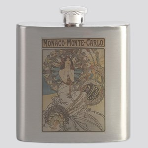 Woman Dressed in Feathers - Art Nouveau Flask