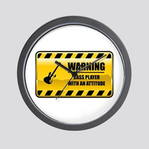 Warning Bass Player Wall Clock