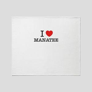 I Love MANATEE Throw Blanket