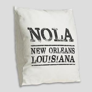 NOLA New Orleans Vintage Burlap Throw Pillow