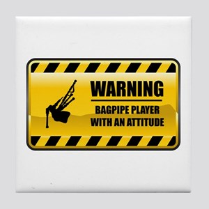 Warning Bagpipe Player Tile Coaster
