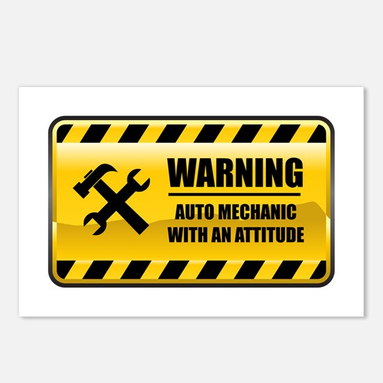 Warning Auto Mechanic Postcards (Package of 8)