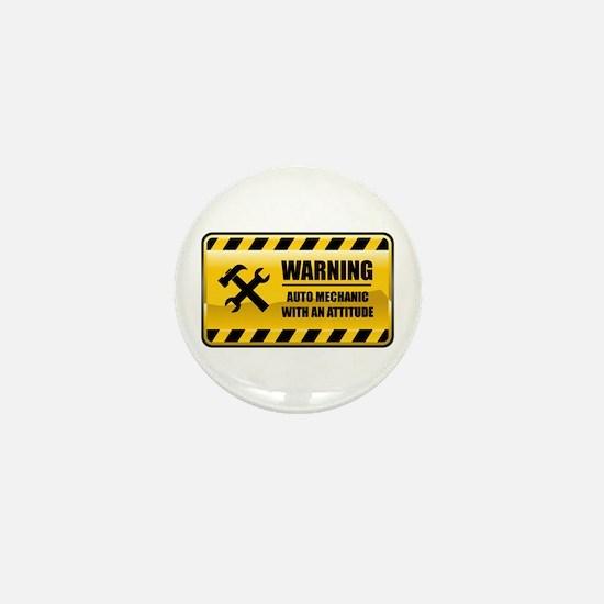 Warning Auto Mechanic Mini Button