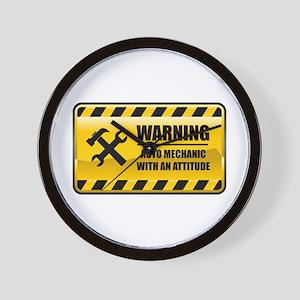 Warning Auto Mechanic Wall Clock