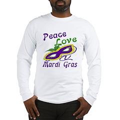 PeaceLoveMArdiGras Long Sleeve T-Shirt