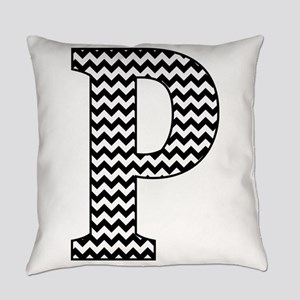 Black and White Chevron Letter P M Everyday Pillow