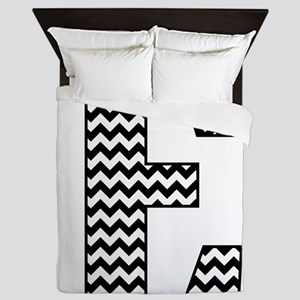 Black and White Chevron Letter E Monog Queen Duvet