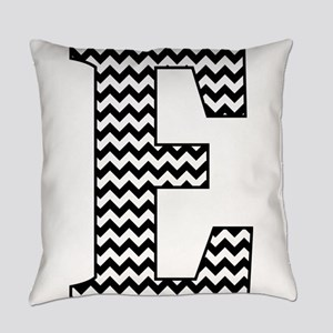 Black and White Chevron Letter E M Everyday Pillow