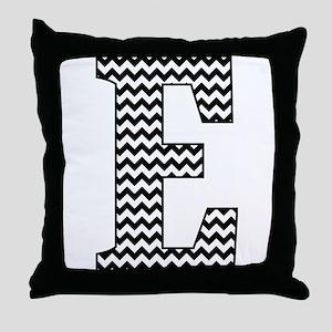 Black and White Chevron Letter E Mono Throw Pillow