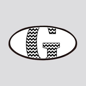 Black and White Chevron Letter G Monogram Patch