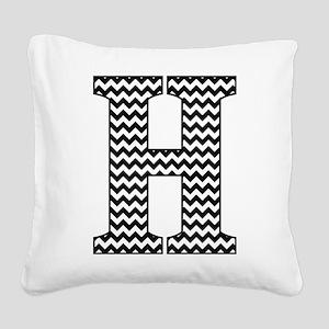 Black and White Chevron Lette Square Canvas Pillow
