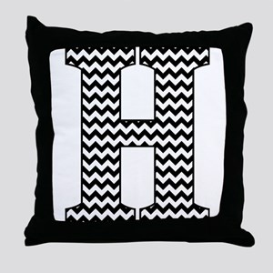 Black and White Chevron Letter H Mono Throw Pillow
