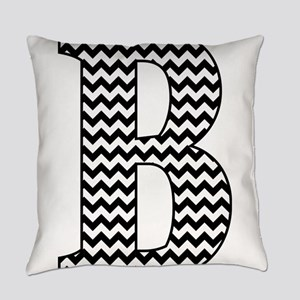 Black and White Chevron Letter B M Everyday Pillow